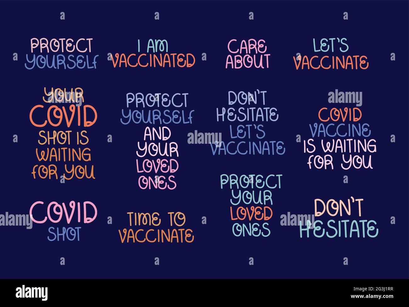 covid vaccine phrases Stock Vector