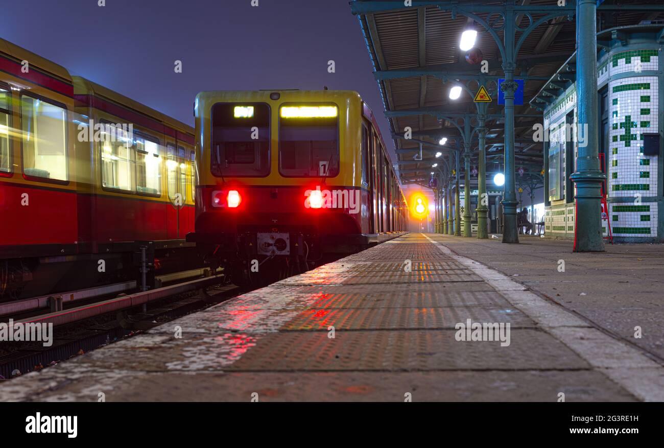 Berlin S-Bahn early morning, rush hour, public transport Stock Photo