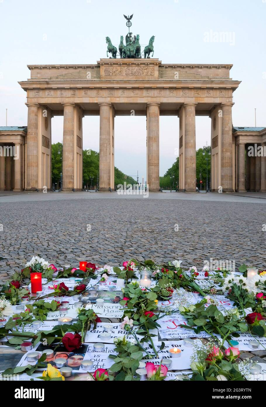 Brandenburger Tor with silent protest on the Pariser Platz (Paris Square) early in the morning, Germany, Berlin Stock Photo