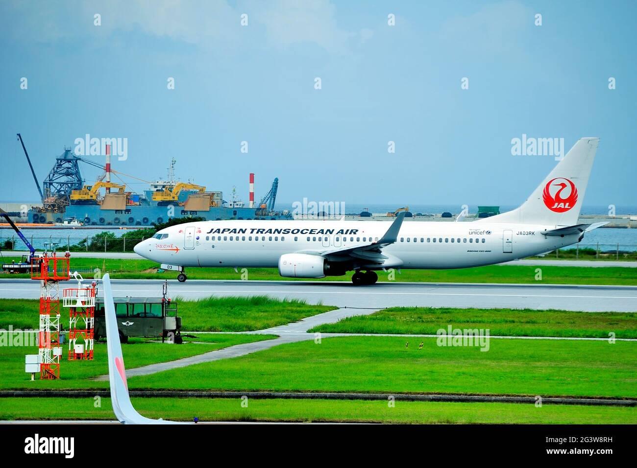 Japan Transocean Air, JTA, Boeing, B-737/800, JA03RK, Take Off, Naha Airport, Naha, Okinawa, Ryukyu Islands, Japan Stock Photo