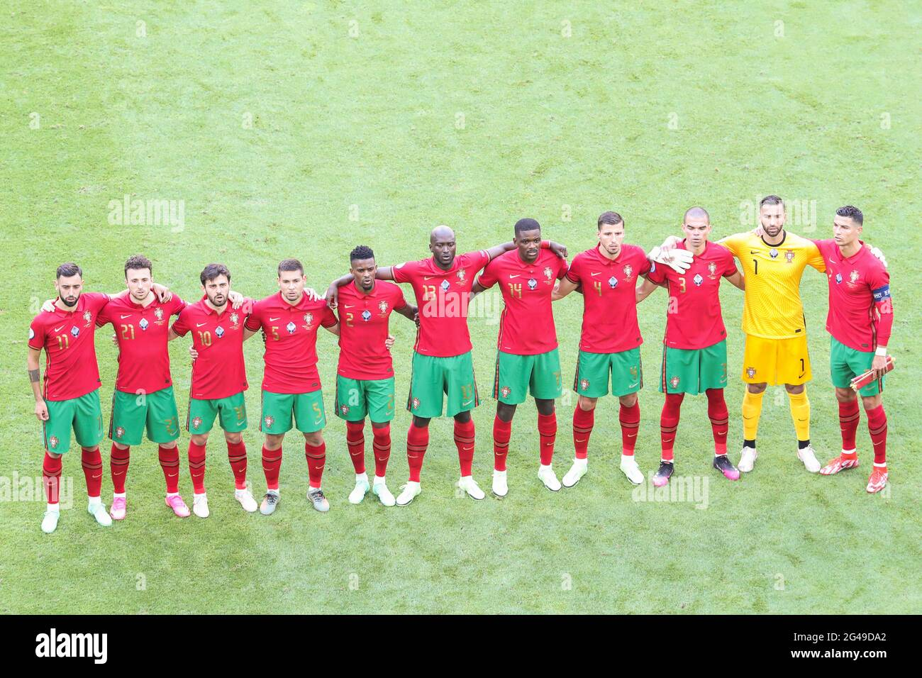 Munich, Germany. 19th June, 2021. Players of Portugal line up during the national anthem ceremony prior to the UEFA Euro 2020 Championship Group F match between Portugal and Germany in Munich, Germany, June 19, 2021. Credit: Shan Yuqi/Xinhua/Alamy Live News Stock Photo