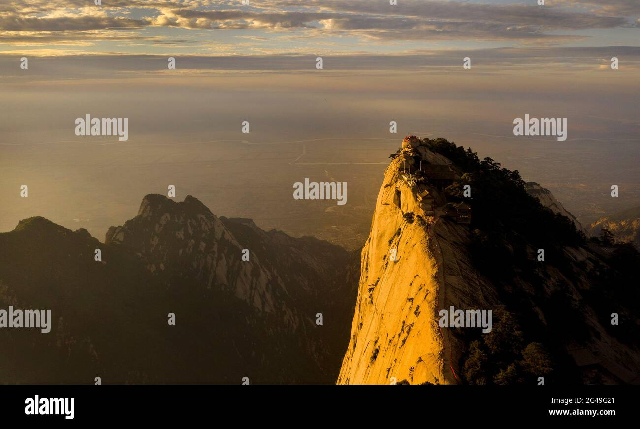 Huayin. 19th June, 2021. Aerial photo taken on June 19, 2021 shows the scenery of Mount Huashan in northwest China's Shaanxi Province. Credit: Tao Ming/Xinhua/Alamy Live News Stock Photo