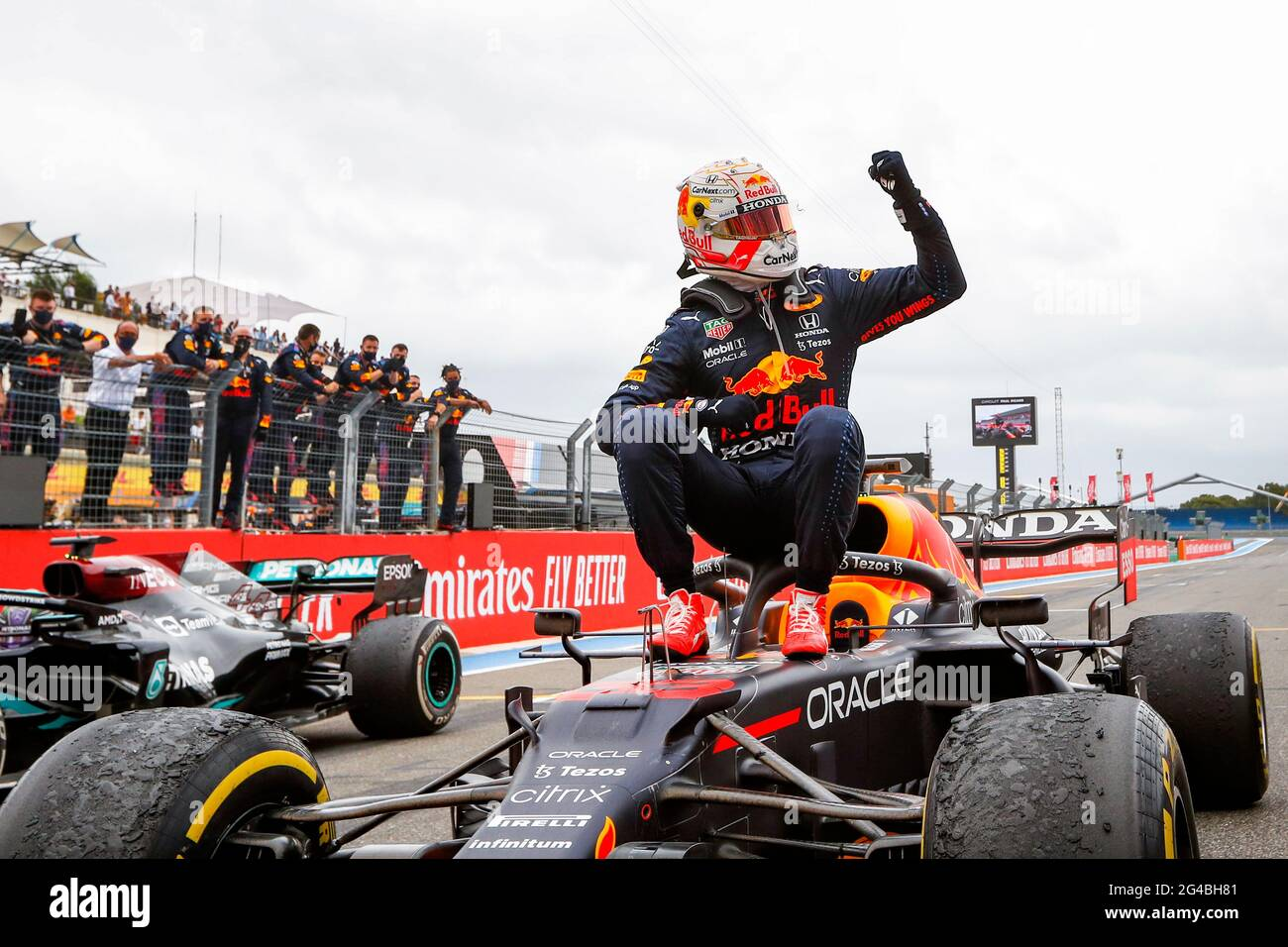 Le Castellet, France. 20th June, 2021. VERSTAPPEN Max (ned), Red Bull Racing Honda RB16B, celebrates his win during the Formula 1 Emirates Grand Prix de, France., . FIA Formula One World Championship from June 18 to 20, 2021 on the Circuit Paul Ricard, in Le Castellet, France - Photo Antonin Vincent/DPPI Credit: DPPI Media/Alamy Live News Stock Photo