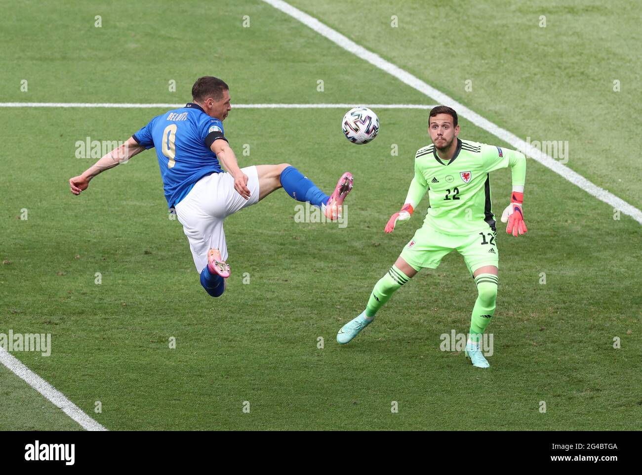 Rome, Italy, 20th June 2021. Andrea Belotti of Italy just fails to connect with the ball in front of Danny Ward of Wales  during the UEFA European Championships match at Stadio Olimpico, Rome. Picture credit should read: Jonathan Moscrop / Sportimage Stock Photo