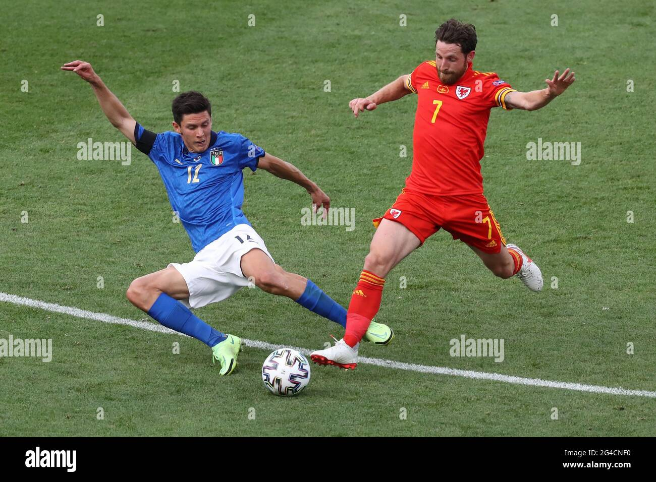 Rome, Italy, 20th June 2021. Matteo Pessina of Italy challenges Joe Allen of Wales during the UEFA Euro 2020 match at Stadio Olimpico, Rome. Picture credit should read: Jonathan Moscrop / Sportimage Stock Photo