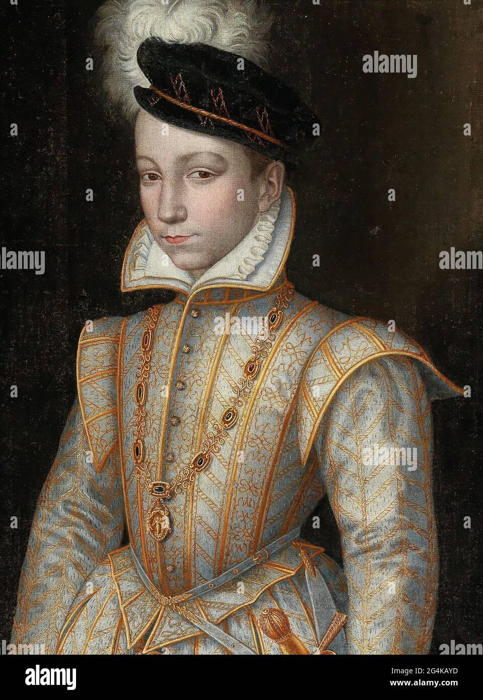 Portrait of King Charles IX of France (1550-1574), c. 1560. Private Collection. Stock Photo