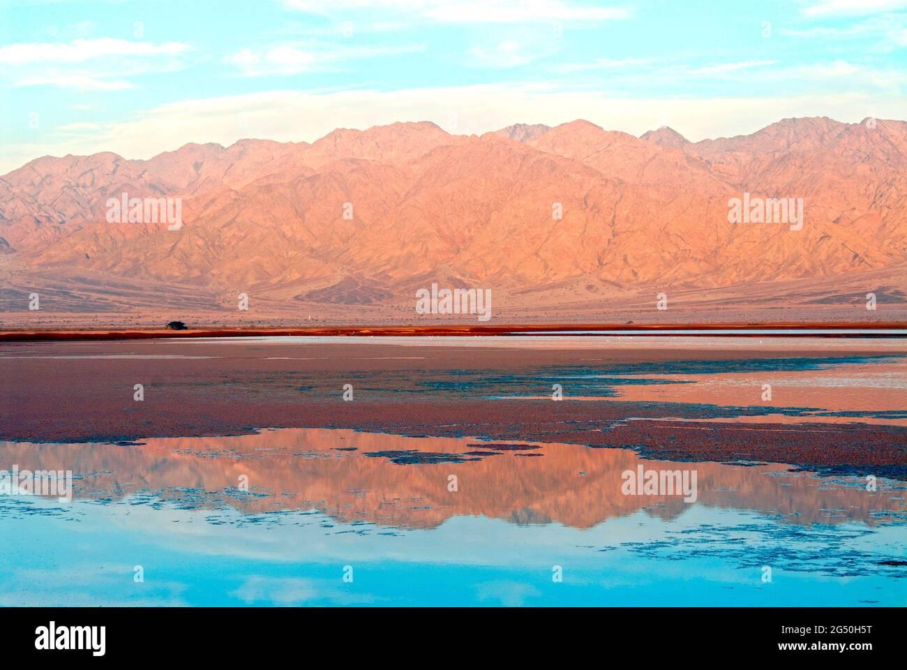 Salt ponds near eilat,  Israel Stock Photo