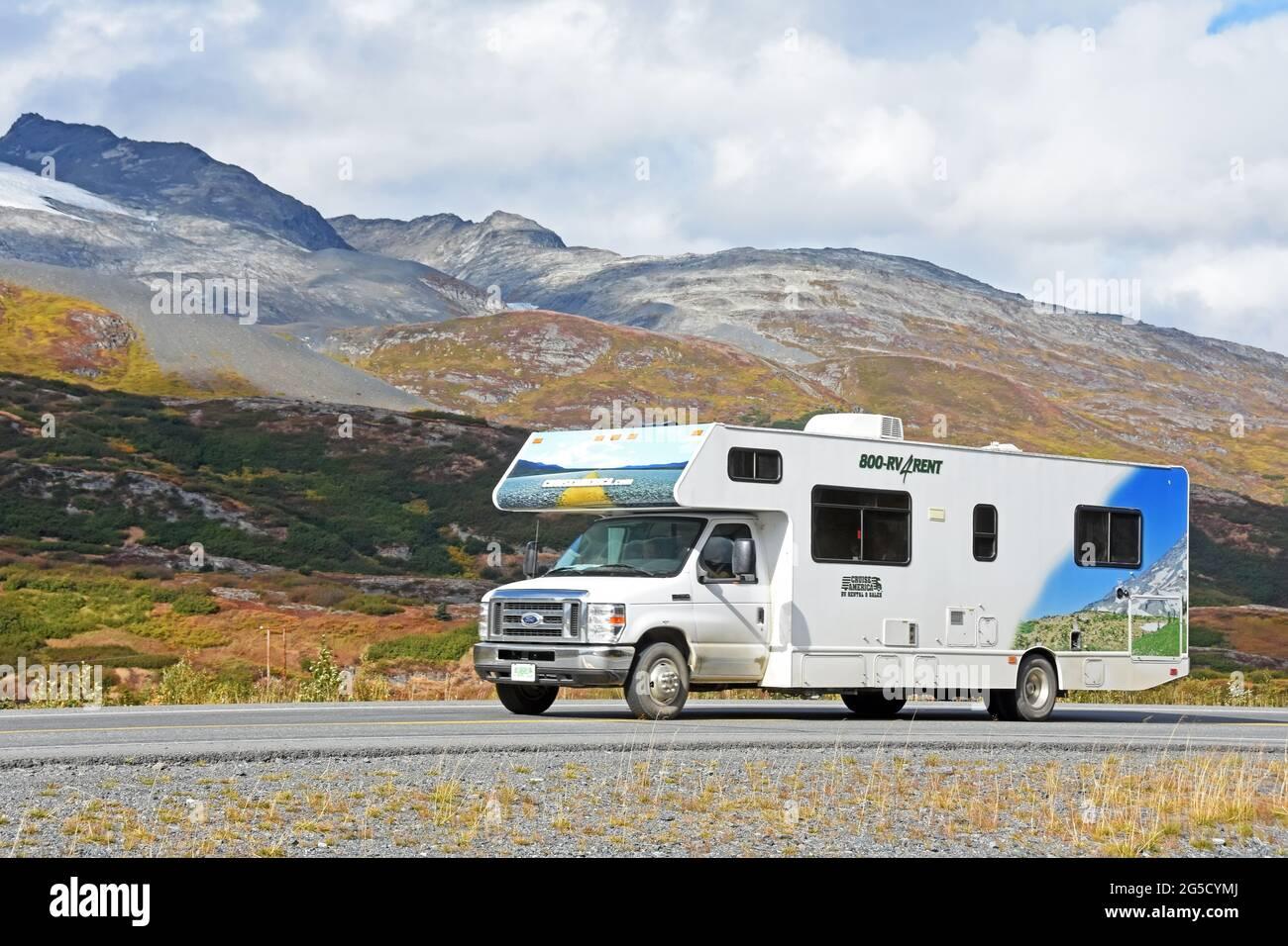 An RV on Richardson hwy, Alaska Stock Photo