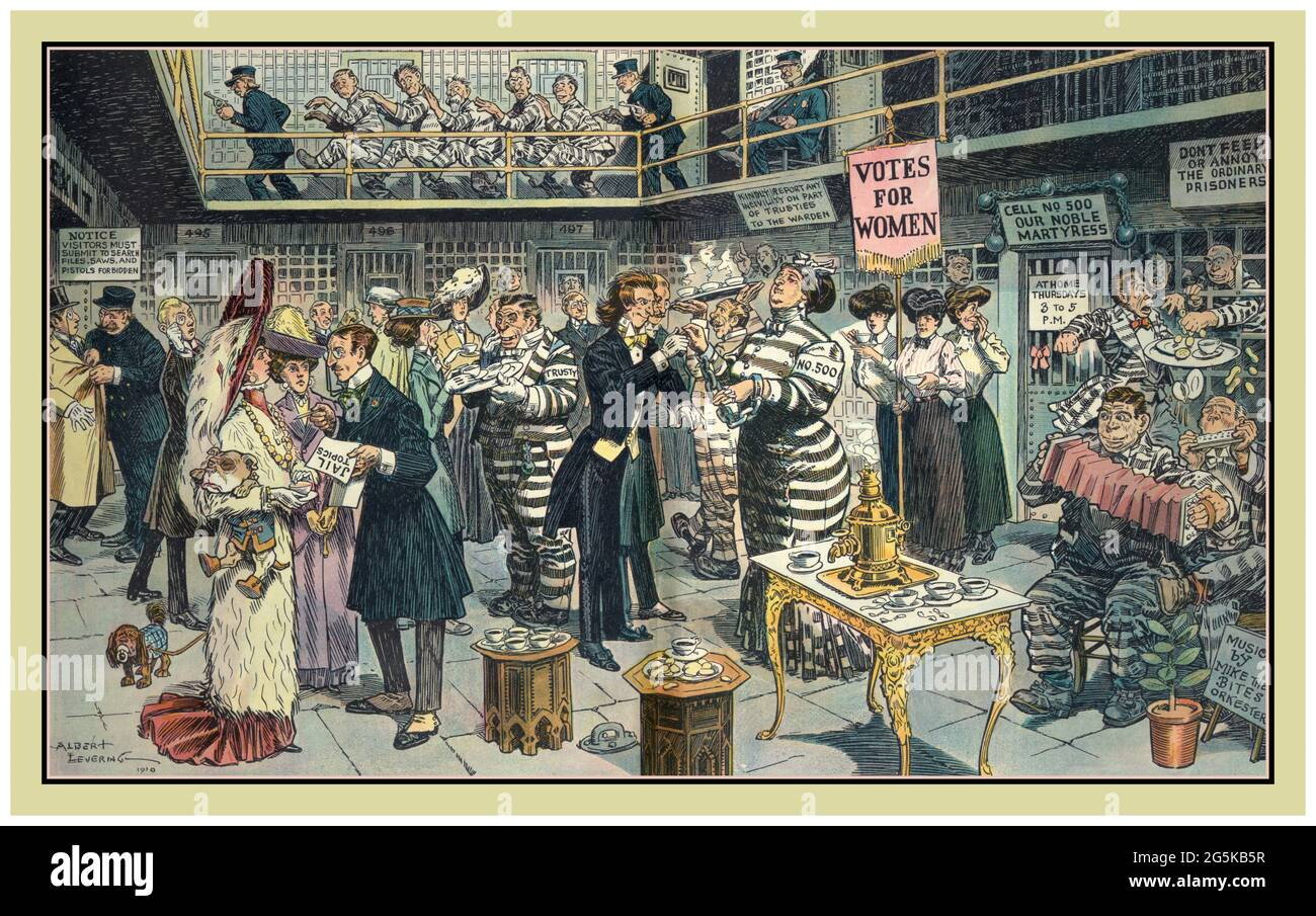 """SUFFRAGE/SUFFRAGETTES  Afternoon tea / Albert Levering 1910. Social commentary Cartoon drawing Lithograph Illustration shows a socialite, prisoner """"no. 500"""", in prison as a martyr for the cause of women's suffrage,'votes for women' having a tea party with her society friends outside her cell labeled """"Cell no. 500 Our Noble Martyress"""". Levering, Albert, 1869-1929, artist N.Y. : Published by Keppler & Schwarzmann, Puck Building, 1910 February 9. Women's suffrage--1910 Stock Photo"""