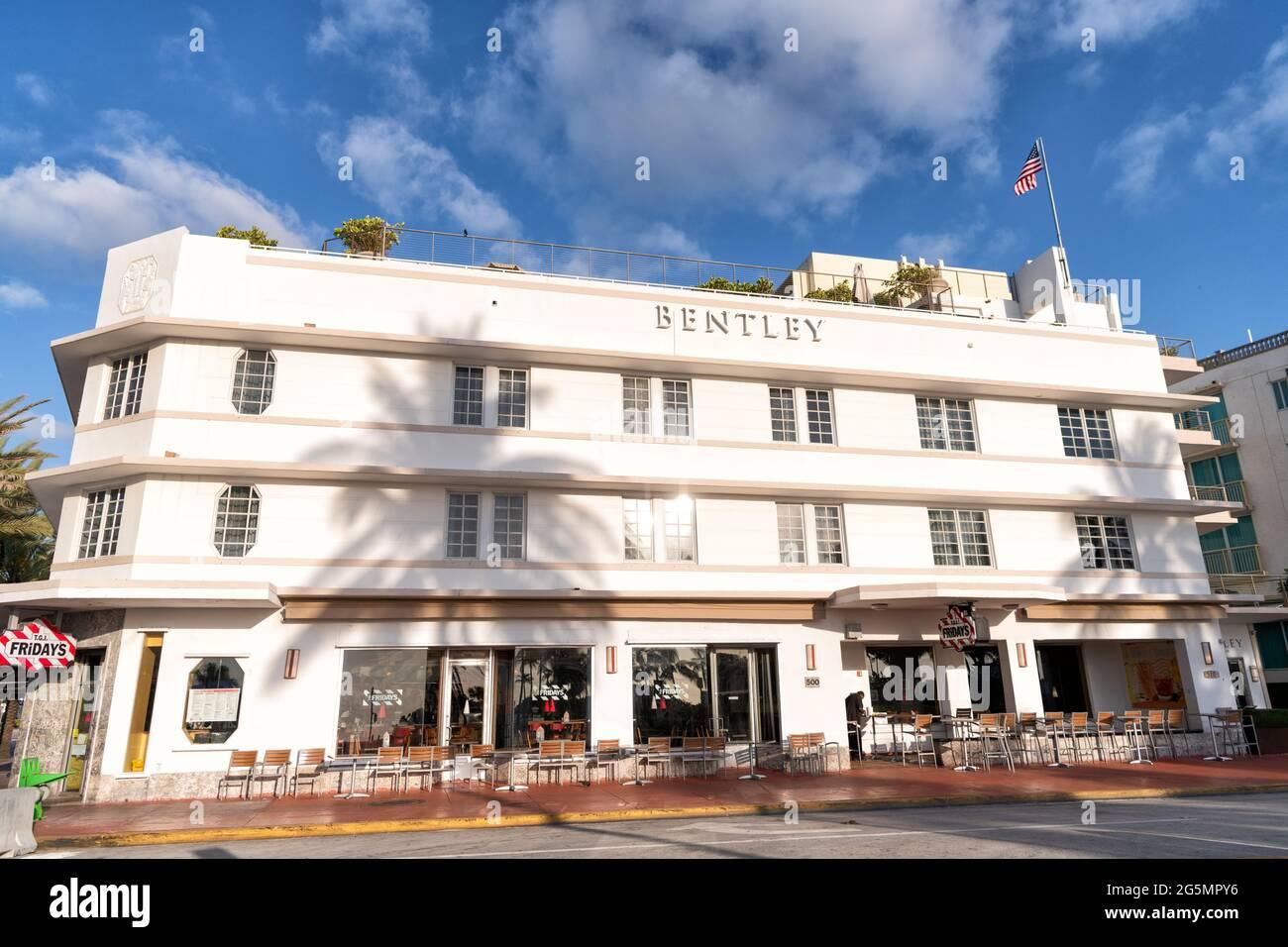 Miami, USA - April 15, 2021: Bentley hotel on Ocean Drive street in Florida Stock Photo