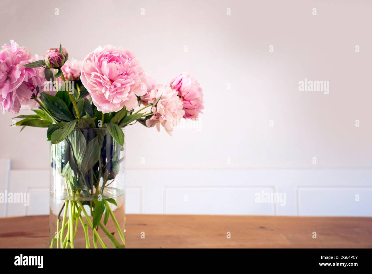 A bunch of pastel pink peony with green leaves in glass vase on the wooden table near white wall texture, cozy bright decoration for stylish house Stock Photo