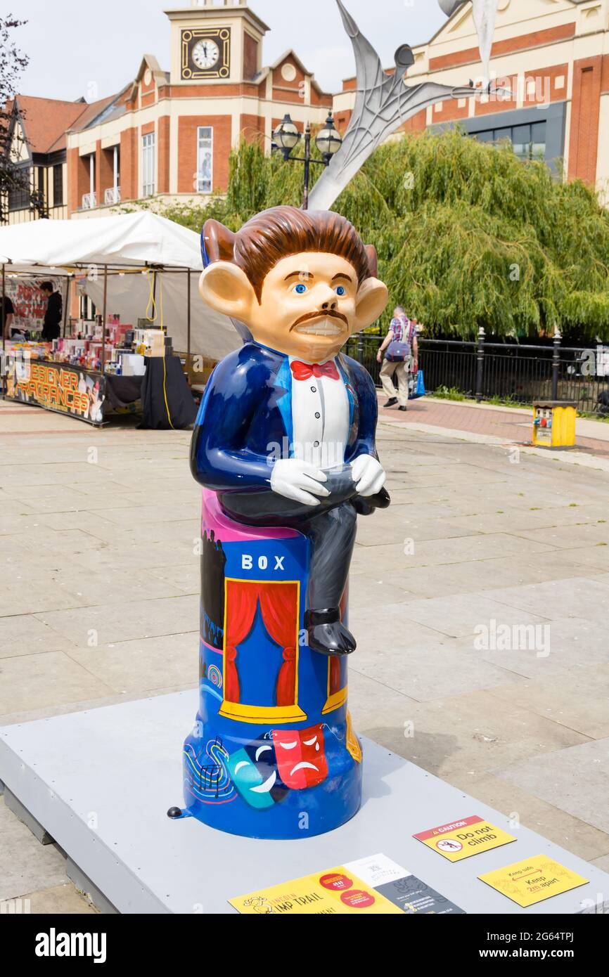 Imp-Entertainment by Deven Bhurke, sponsored by Bottomley Distillers. Lincoln Imp Trail 2021. Decorated Imps around Lincoln City. 2 July 2021. Lincoln Stock Photo