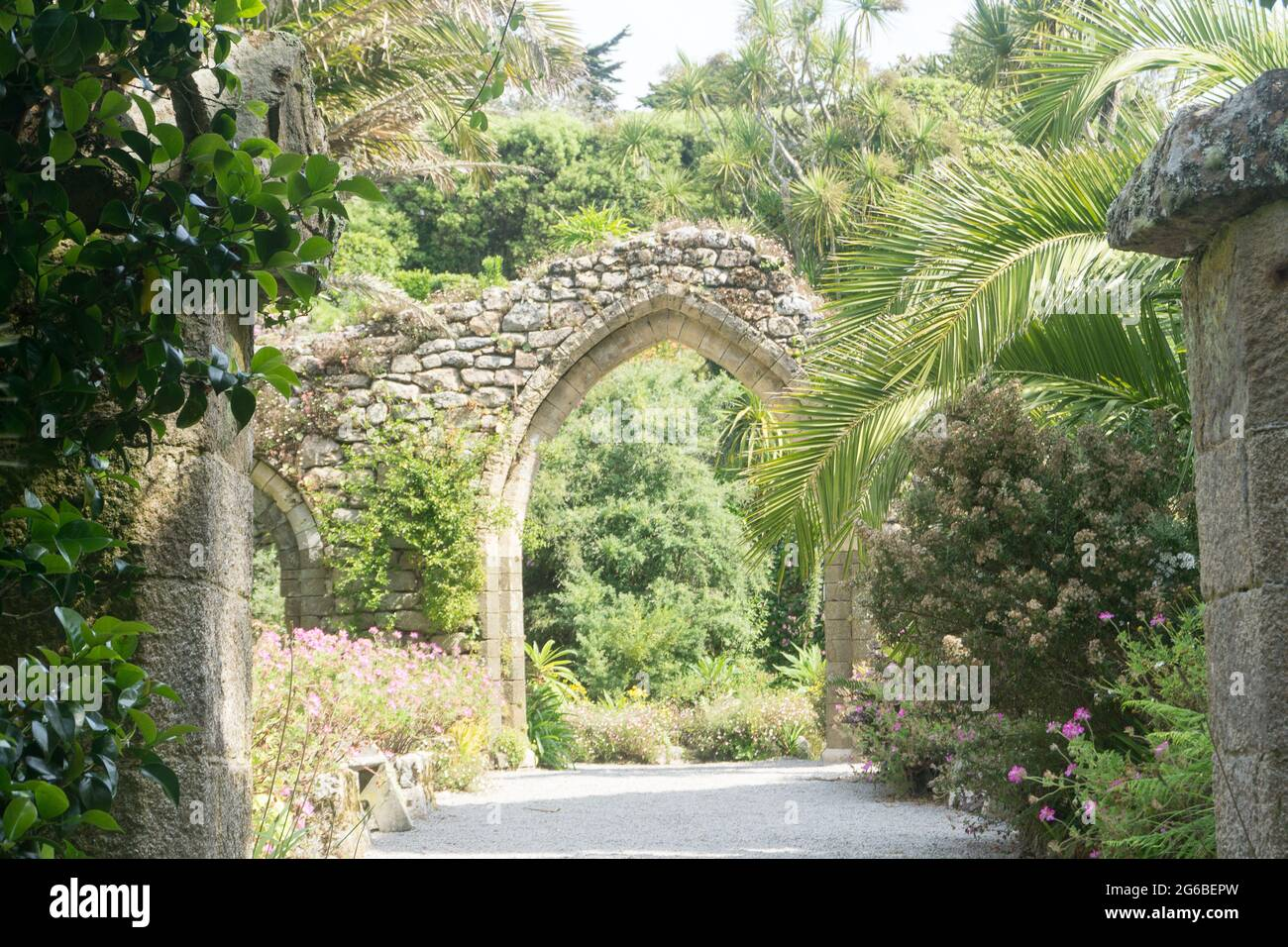 Archway of the ruins of the Benedictine Abbey in Abbey Gardens, Tresco, Isles of Scilly, Cornwall, UK Stock Photo