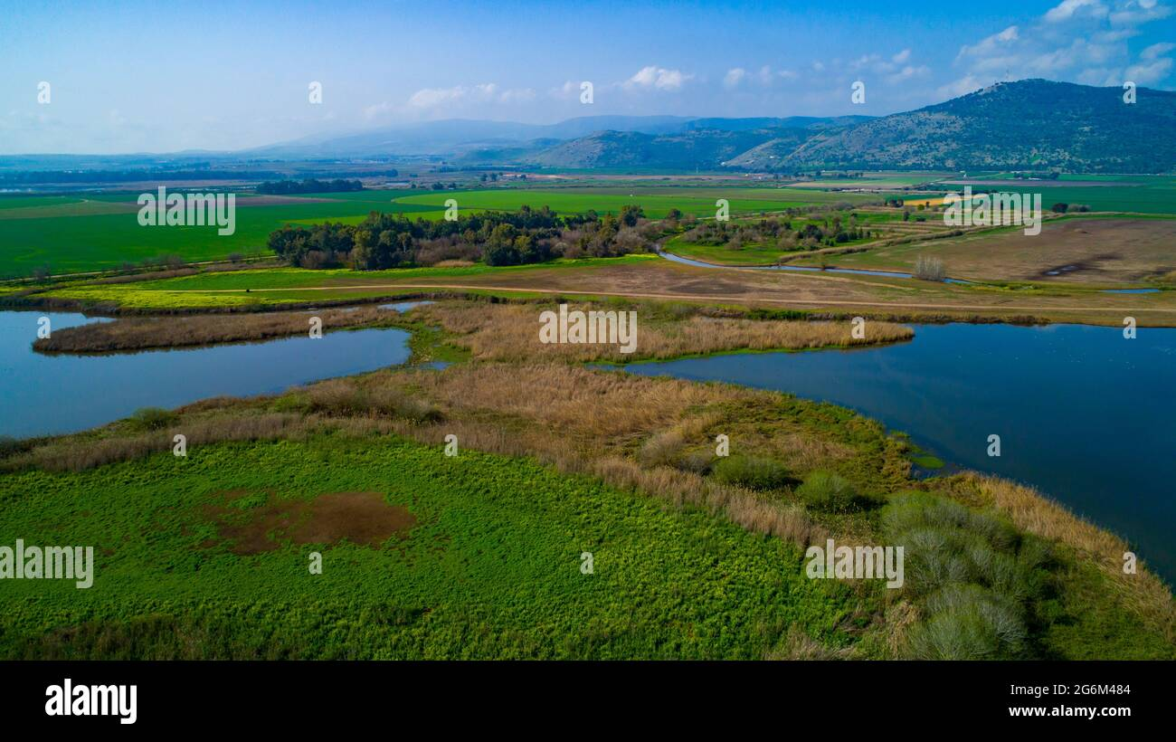 Elevated view of the Hula Valley, Galilee, Israel Stock Photo
