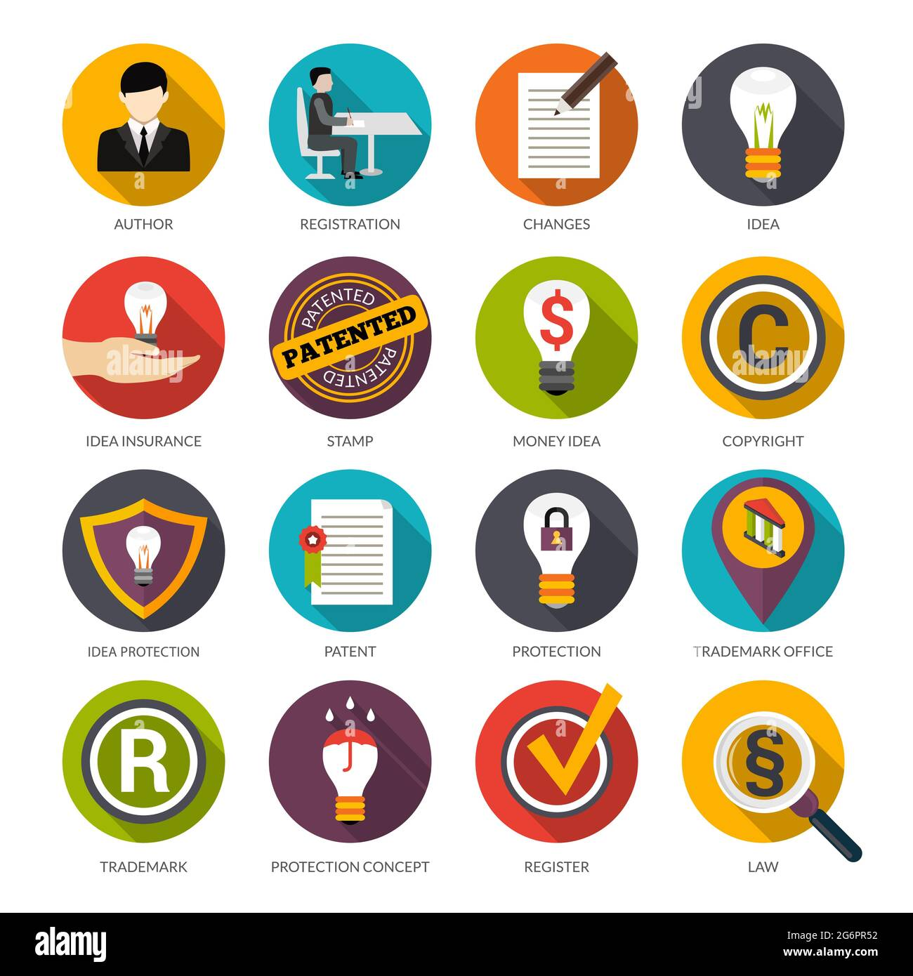 Patent idea protection flat icons set with author trademark copyright symbols isolated vector illustration Stock Vector