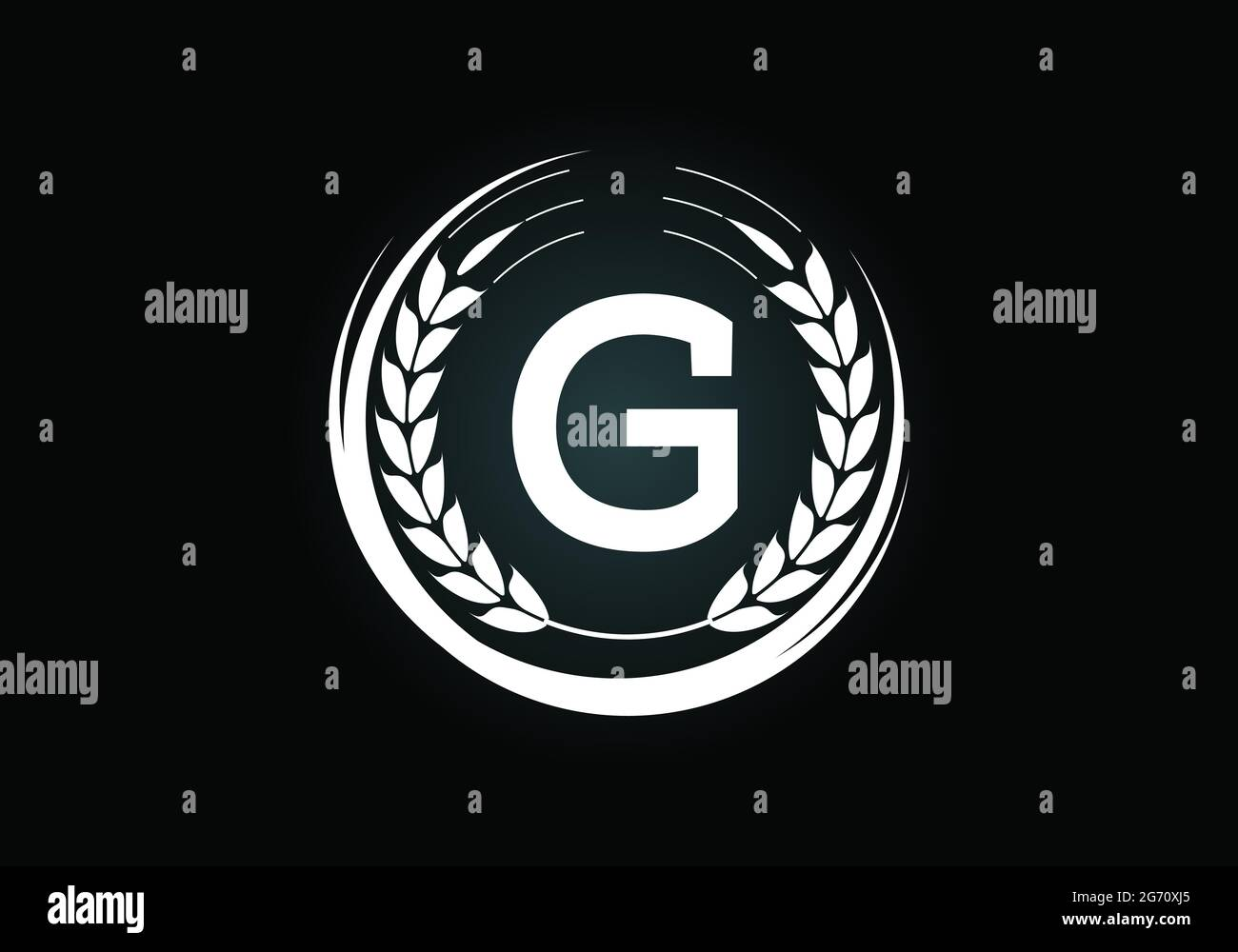 Initial letter G sign symbol with wheat ears wreath. Organic wheat farming  logo design concept. Agriculture logo design vector template Stock Vector  Image & Art - Alamy