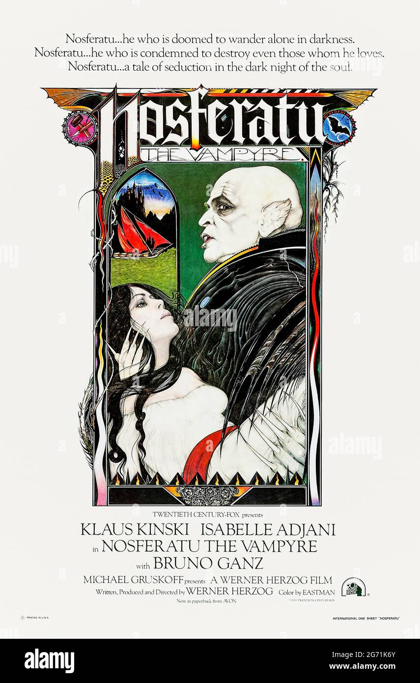 Nosferatu the Vampyre (1979) directed by Werner Herzog and starring Klaus Kinski, Isabelle Adjani and Bruno Ganz. Remake of the classic 1922 silent film based on Bram Stoker's Dracula. Stock Photo