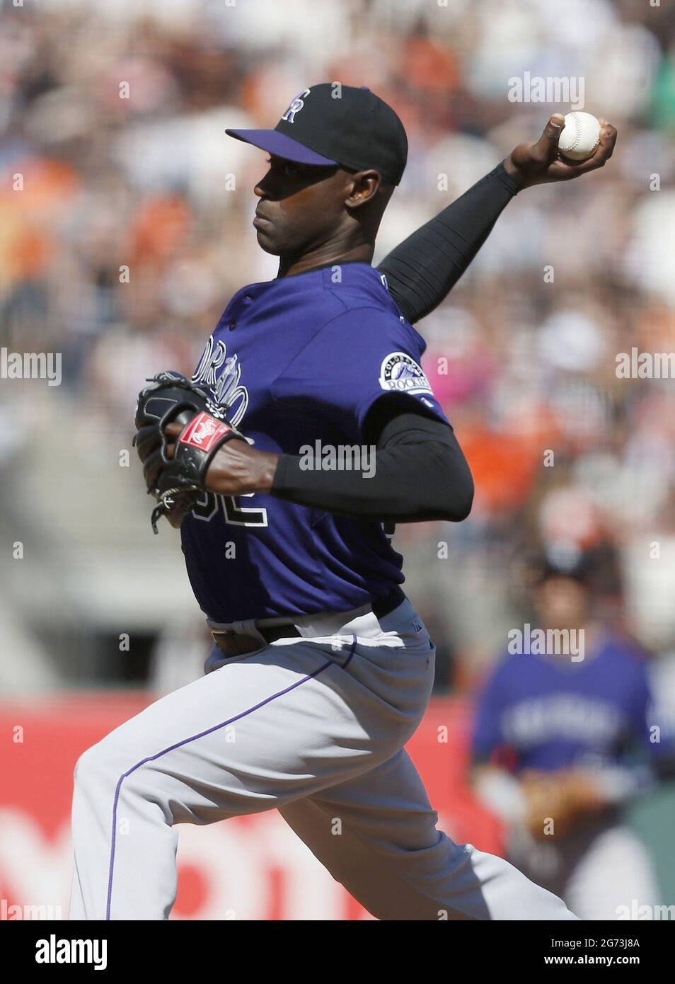 San Francisco, USA. 12th Apr, 2014. Colorado Rockies pitcher LaTroy Hawkins works in the ninth inning of a 1-0 win against the San Francisco Giants at AT&T Park in San Francisco on April 12, 2014. (Photo by Jim Gensheimer/Bay Area News Group/TNS/Sipa USA) Credit: Sipa USA/Alamy Live News Stock Photo