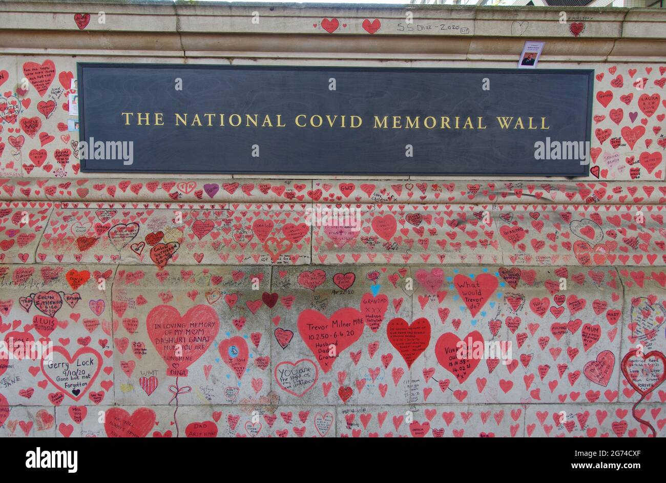 London, England, UK 24.06.2021_The National Covid Memorial Wall in southbank, Lambeth in memory of the covid-19 victims Stock Photo