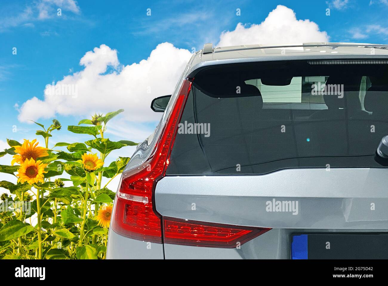 Car window mock up. Auto vinyl decal mockup. Vehicle sticker template Stock Photo