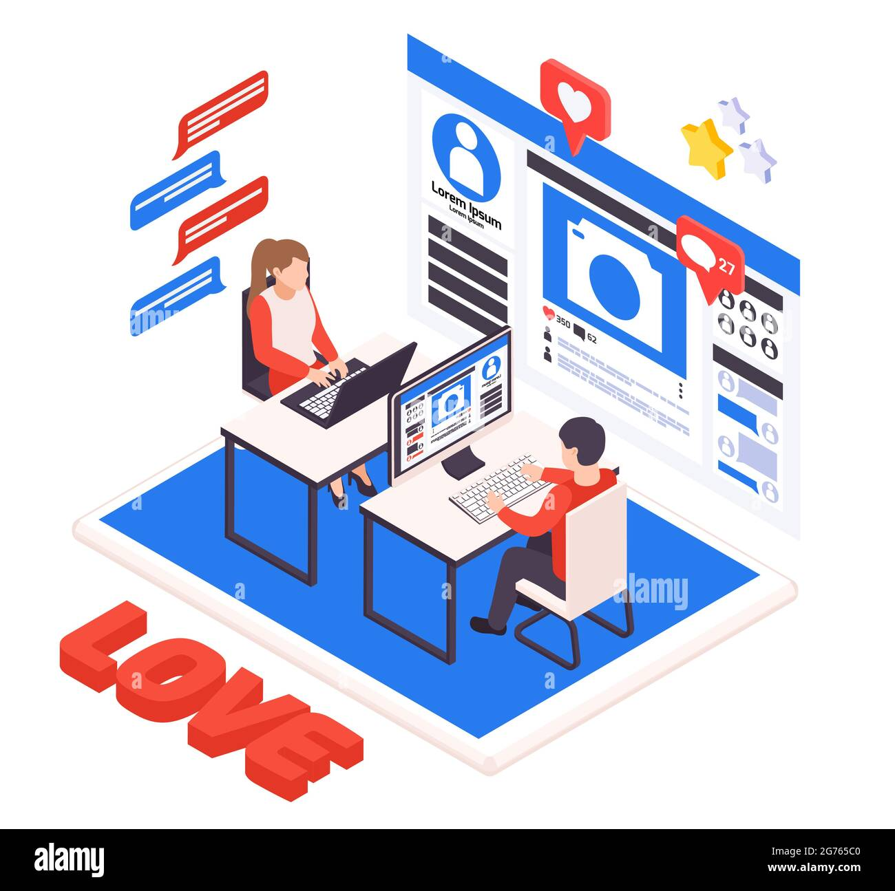 Virtual relationship isometric composition with young couple dating online with laptop desktop love heart symbols vector illustration Stock Vector