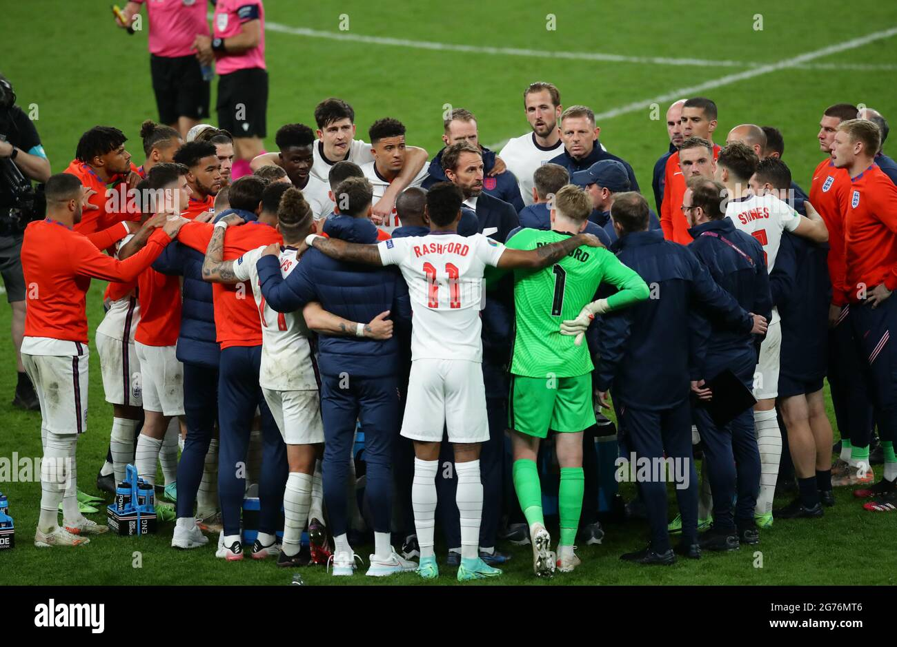 London, England, 11th July 2021.  Gareth Southgate manager of England collects names for penalties during the UEFA Euro 2020 final at Wembley Stadium, London. Picture credit should read: David Klein / Sportimage Credit: Sportimage/Alamy Live News Stock Photo