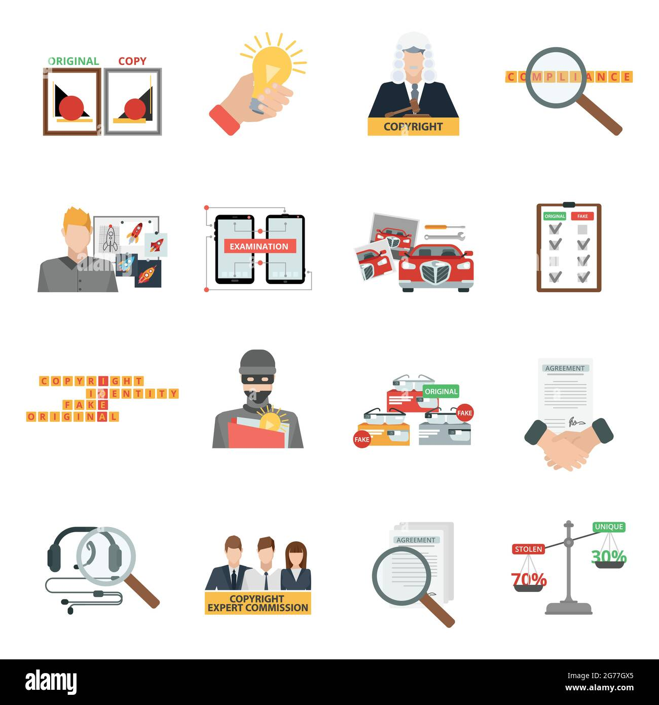 Criminal copyright law compliance and intellectual property piracy theft penalties flat icons collection abstract isolated vector illustration Stock Vector