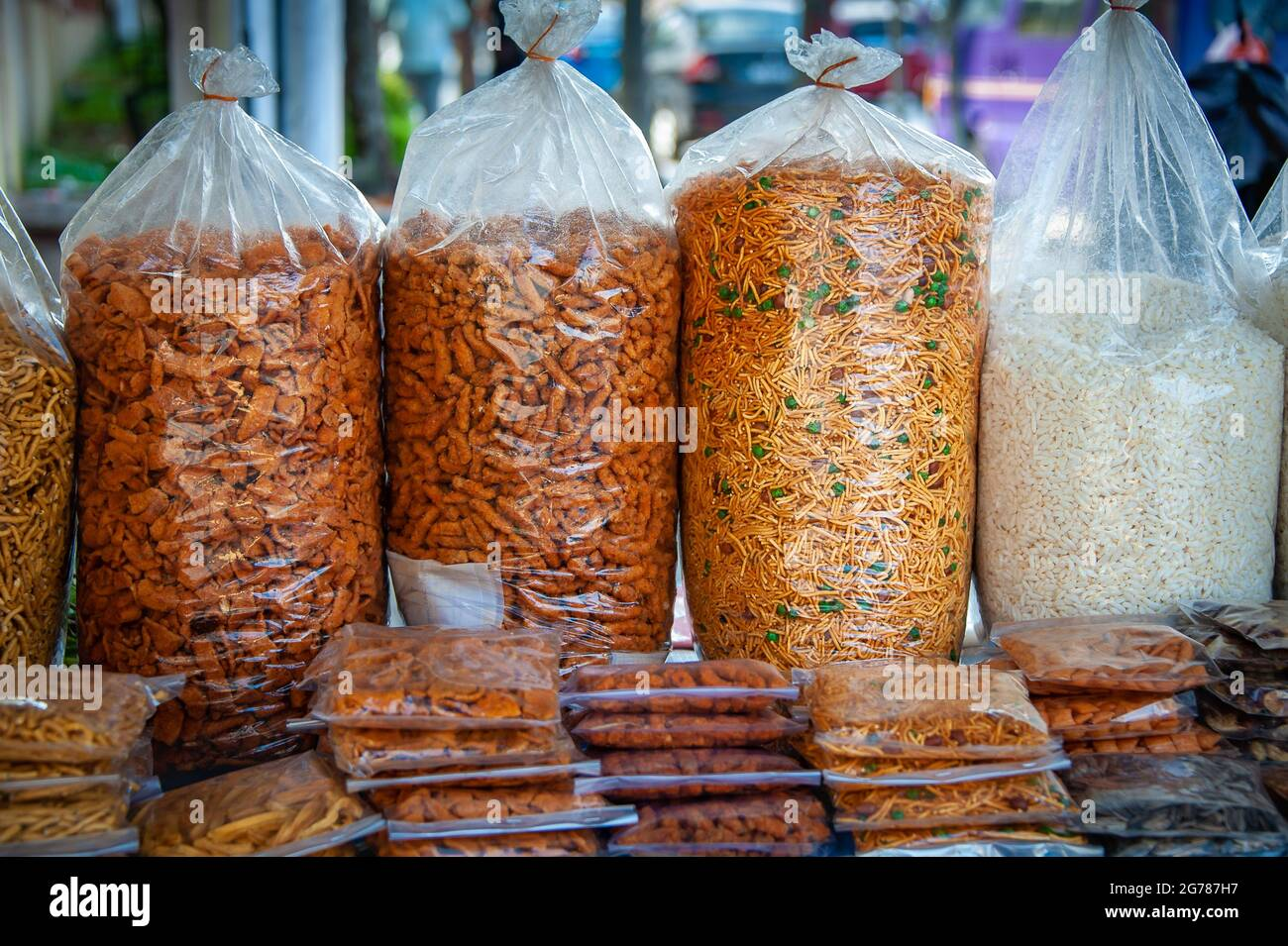 Savoury crackers on display in a street market, Traditional oriental snack mix served as an appetiser or an accompaniment to drinks Stock Photo