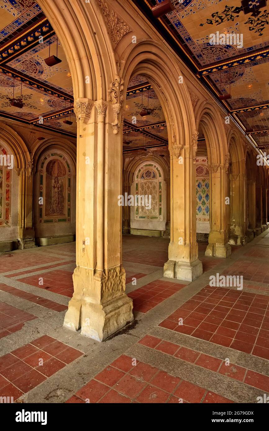 Bethesda Terrace and Fountain overlook The Lake in New York City's Central Park. New York NY USA. Stock Photo