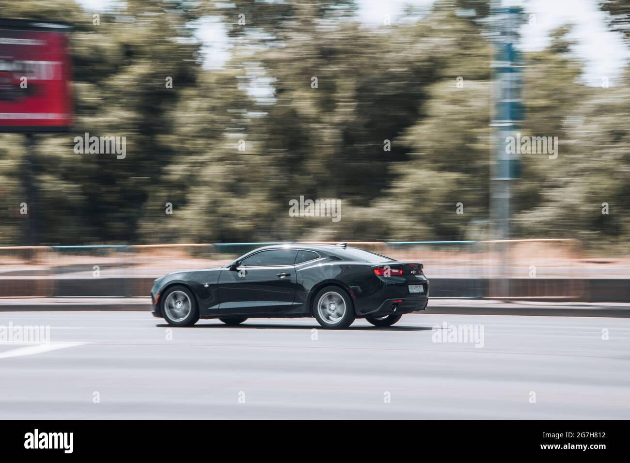 ukraine, kyiv - 27 june 2021: black chevrolet camaro car