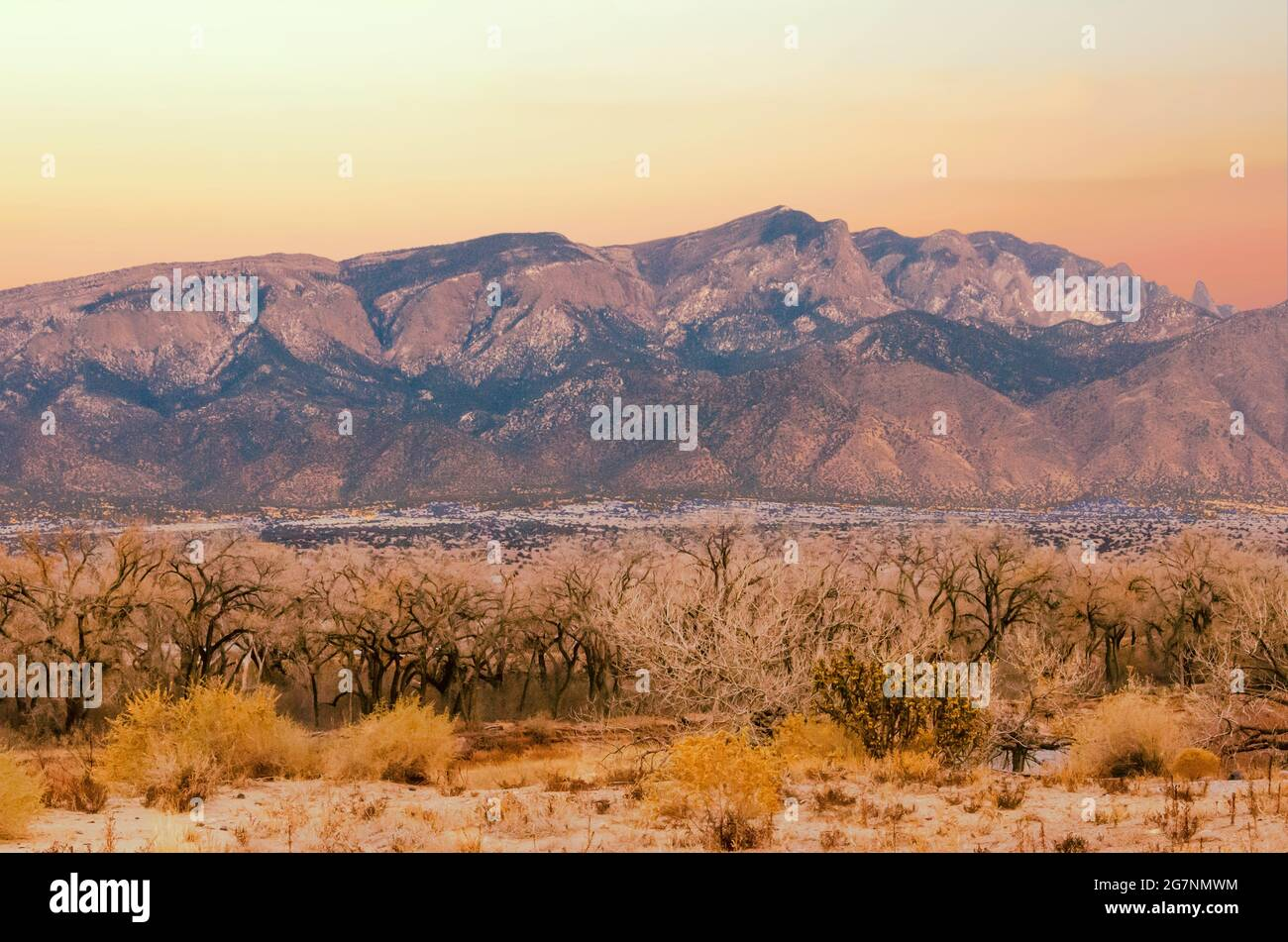 Sandia Mountains from the Rio Grande River in New Mexico Stock Photo
