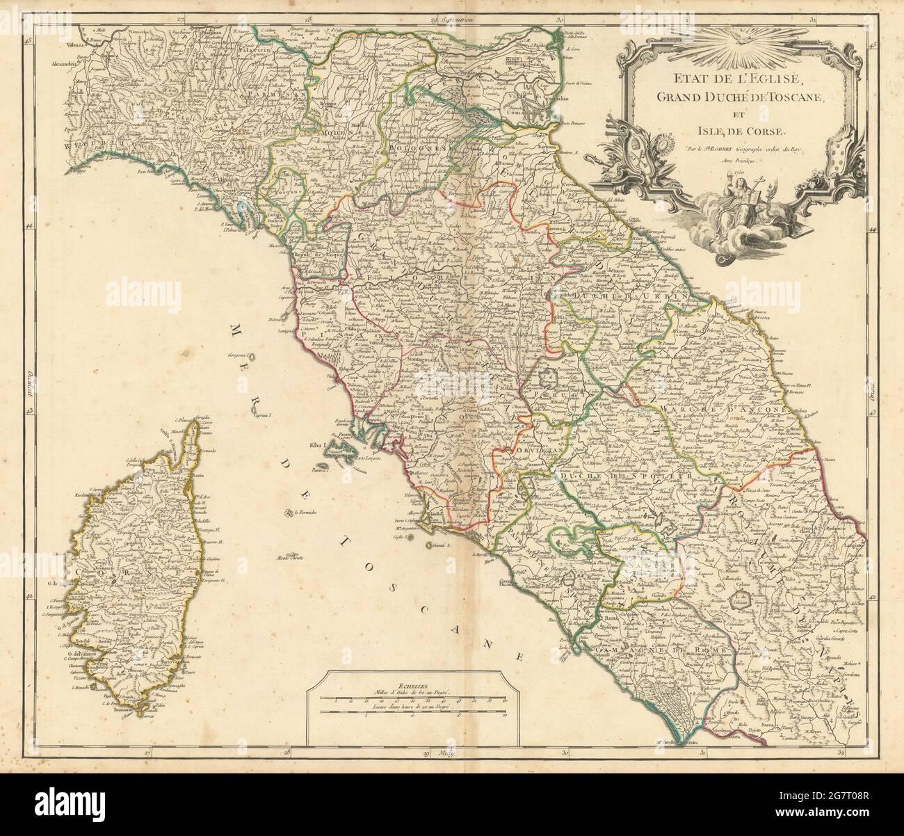 """Etat l'Eglise, Grand Duché Toscane et Isle Corse"" Tuscany. VAUGONDY 1750 map Stock Photo"