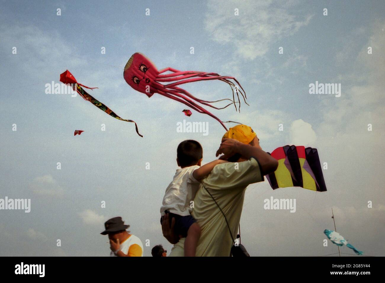 The 2004 Jakarta International Kite Festival at Carnival Beach in Ancol Dreamland, North Jakarta, Jakarta, Indonesia. Stock Photo