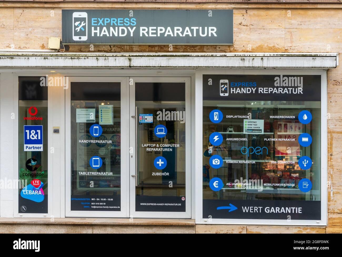 Laden für Handyreparatur  in Kempten Stock Photo