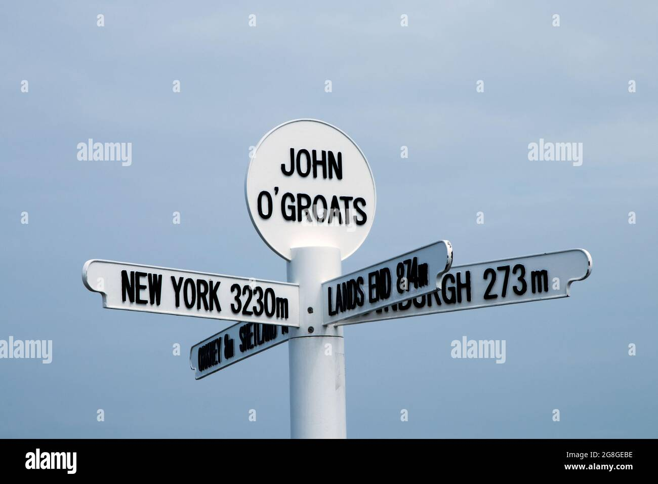 Mileage direction signboards at John O`Groats in northern Scotland Stock Photo