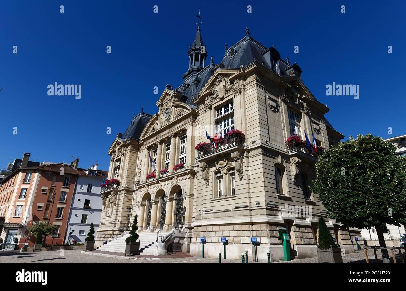 Suresnes town hall . It is municipality of the department Hauts-de-Seine in the region Ile-de-France. Stock Photo