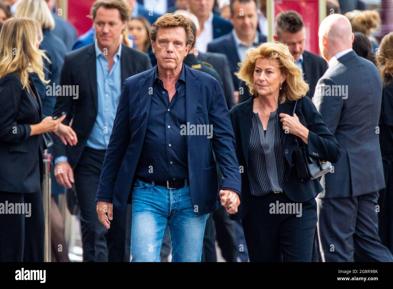 John De Mol And His Wife Els Attending The Private Farewell For Peter R De Vries A Well Known Dutch Journalist His Coffin Is Later Carried Away From The Royal Theater Carre