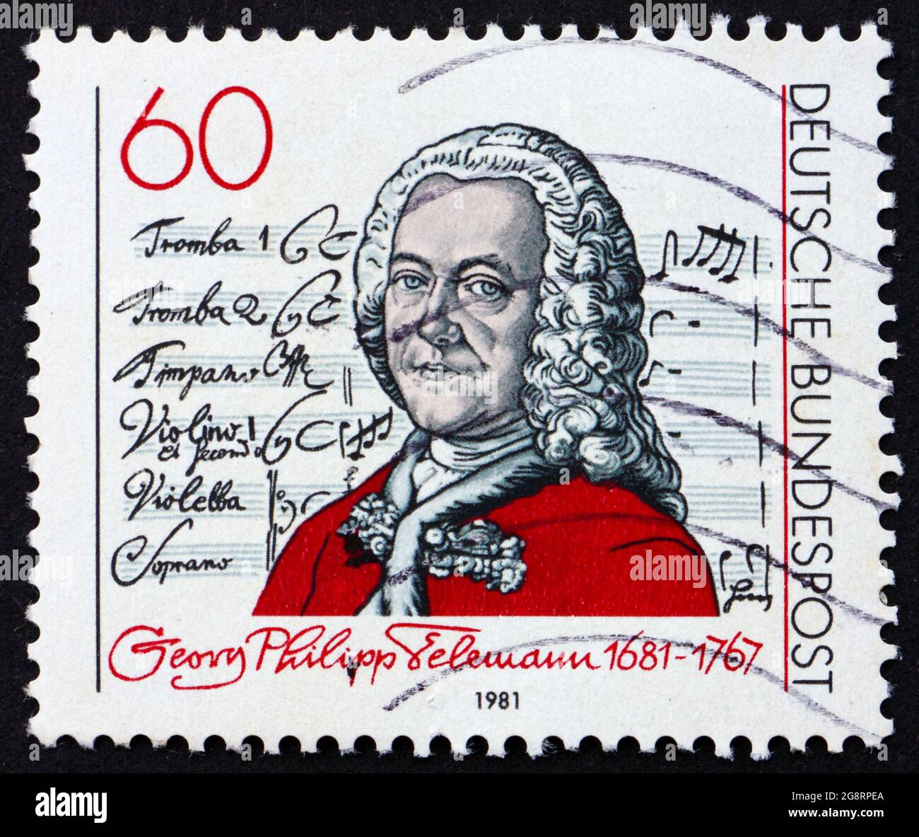 GERMANY - CIRCA 1981: a stamp printed in the Germany shows Georg Telemann, composer, circa 1981 Stock Photo