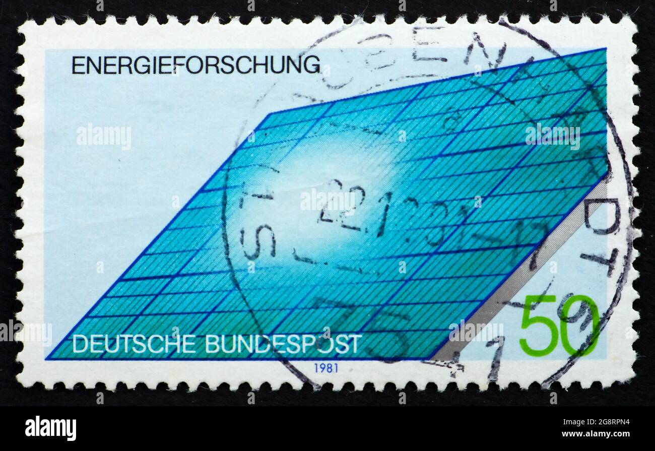 GERMANY - CIRCA 1981: a stamp printed in the Germany shows Solar Generator, Energy Conservation Research, circa 1981 Stock Photo