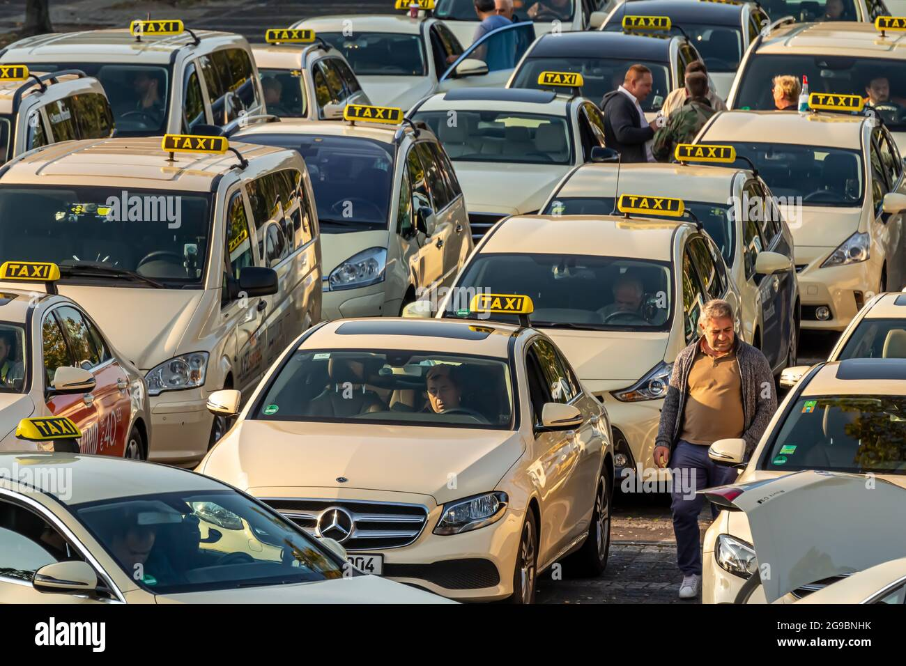 Berlin, Germany - September 15, 2018: Taxis at Berlin Tegel - Otto Lilienthal Airport Parking Lot, TXL, EDDT Stock Photo