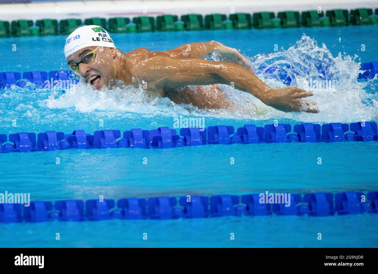 Tokyo, Japan. 27th July, 2021. CHAD LE CLOS (RSA) competes in the Men's 200m Butterfly Semifinal during the Tokyo 2020 Olympics at the Tokyo Aquatics Centre in Tokyo. Le Clos qualified for the final. (Credit Image: © Paul Kitagaki Jr./ZUMA Press Wire) Stock Photo