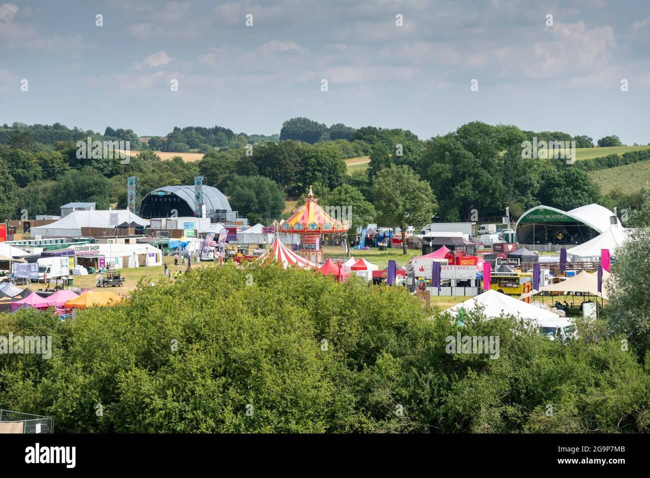 A view of the main event area at Standon Calling music festival 2021 Hertfordshire UK Stock Photo
