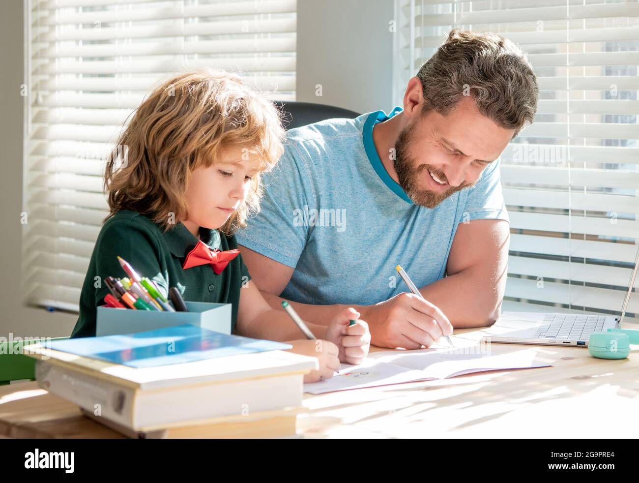 private writing lesson. education concept. homeschooling and self-education. Stock Photo