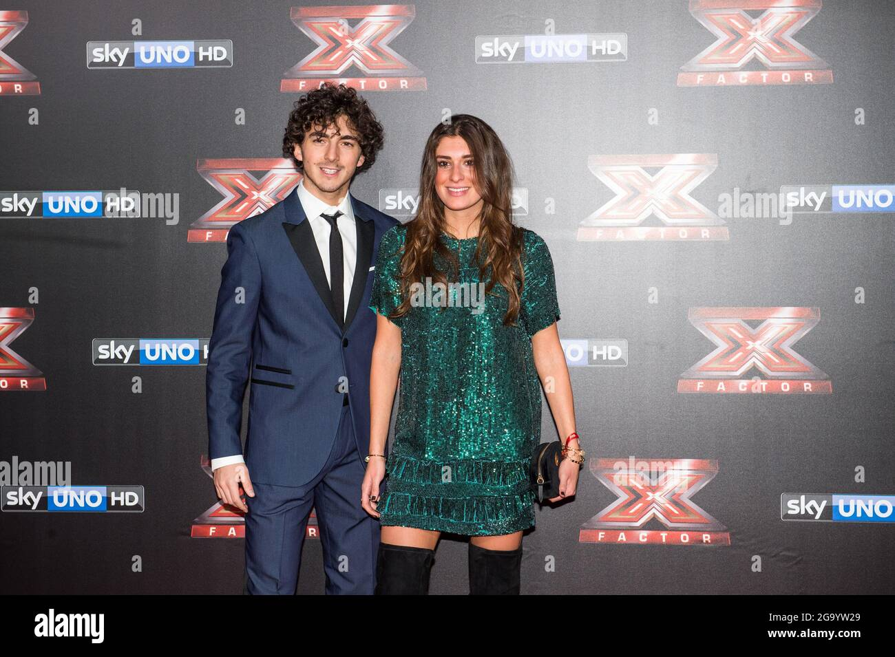 The Motorcycle Rider Francesco Bagnaia With Girlfriend At The Red Carpet For The Final Of The X Factor Television Program At The Assago Forum Assago Italy December 14th 2017 Photo By Elena