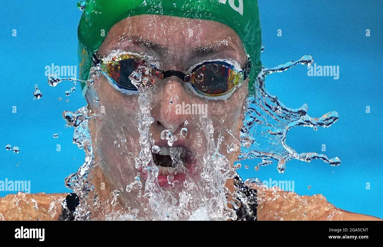 Tokyo, Japan. 29th July, 2021. Tatjana Schoenmaker of South Africa competes during the women's 200m breaststroke semifinal of swimming at Tokyo 2020 Olympic Games in Tokyo, Japan, July 29, 2021. Credit: Xu Chang/Xinhua/Alamy Live News Stock Photo