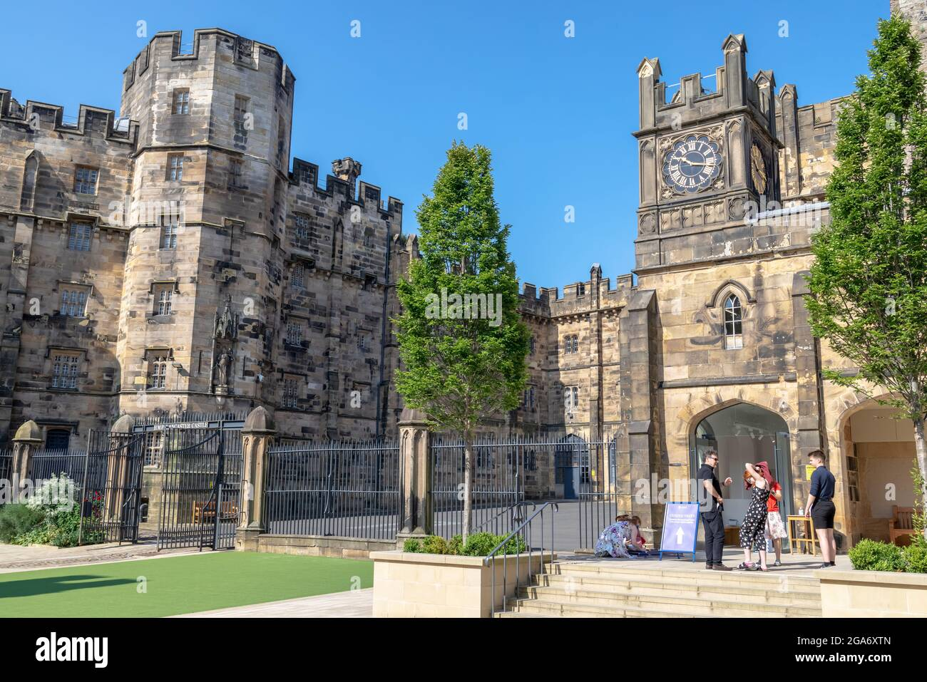 Inside the curtain wall of medieval Lancaster Castle, UK. Stock Photo