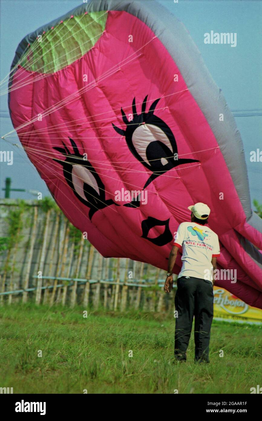 A balloon kite during the 2004 Jakarta International Kite Festival that held on July 9-11 at Carnival Beach in Ancol Dreamland, North Jakarta, Jakarta, Indonesia. Stock Photo