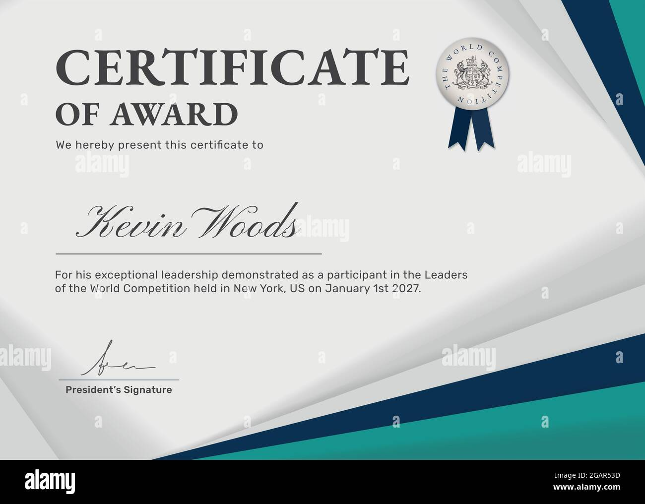 Professional award certificate template vector in green abstract Pertaining To Professional Award Certificate Template