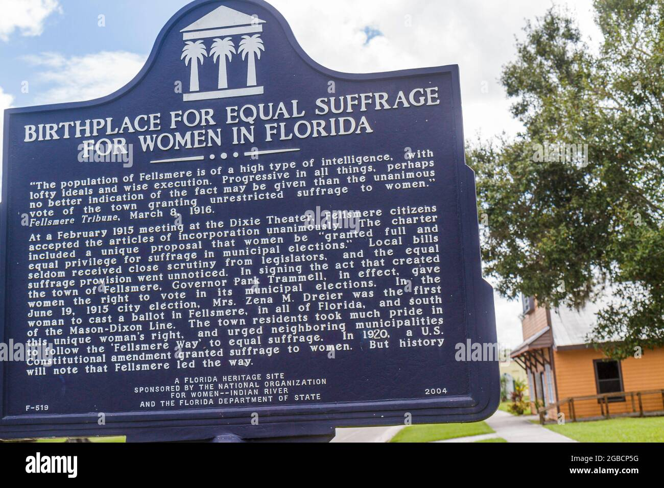 Florida Fellsmere,Heritage Site roadside historic marker sign,Birthplace for Equal Suffrage for Women,suffragist movement women's rights voting Stock Photo