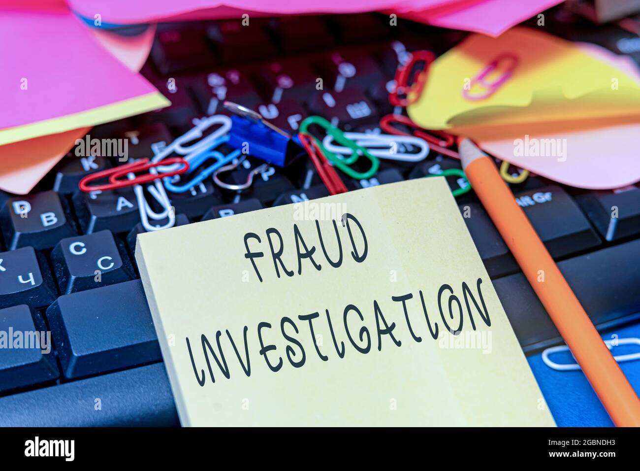 Conceptual caption Fraud Investigation. Business approach process of determining whether a scam has taken place Multiple Assorted Collection Office Stock Photo